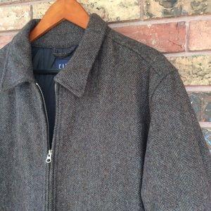 Men's L Classic Brown Tweed Wool Coat Jacket GAP
